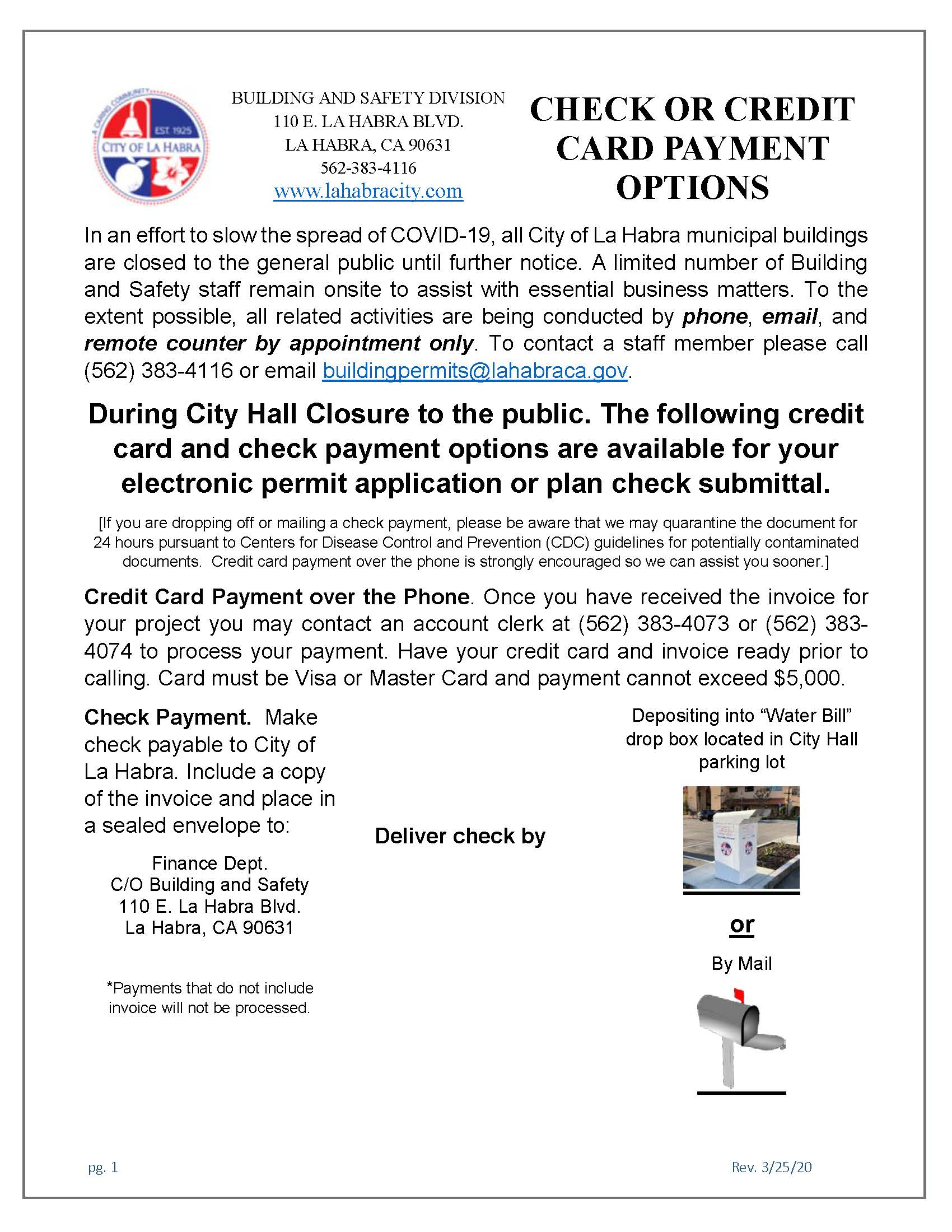 Check or Credit Card Payment Options PDF