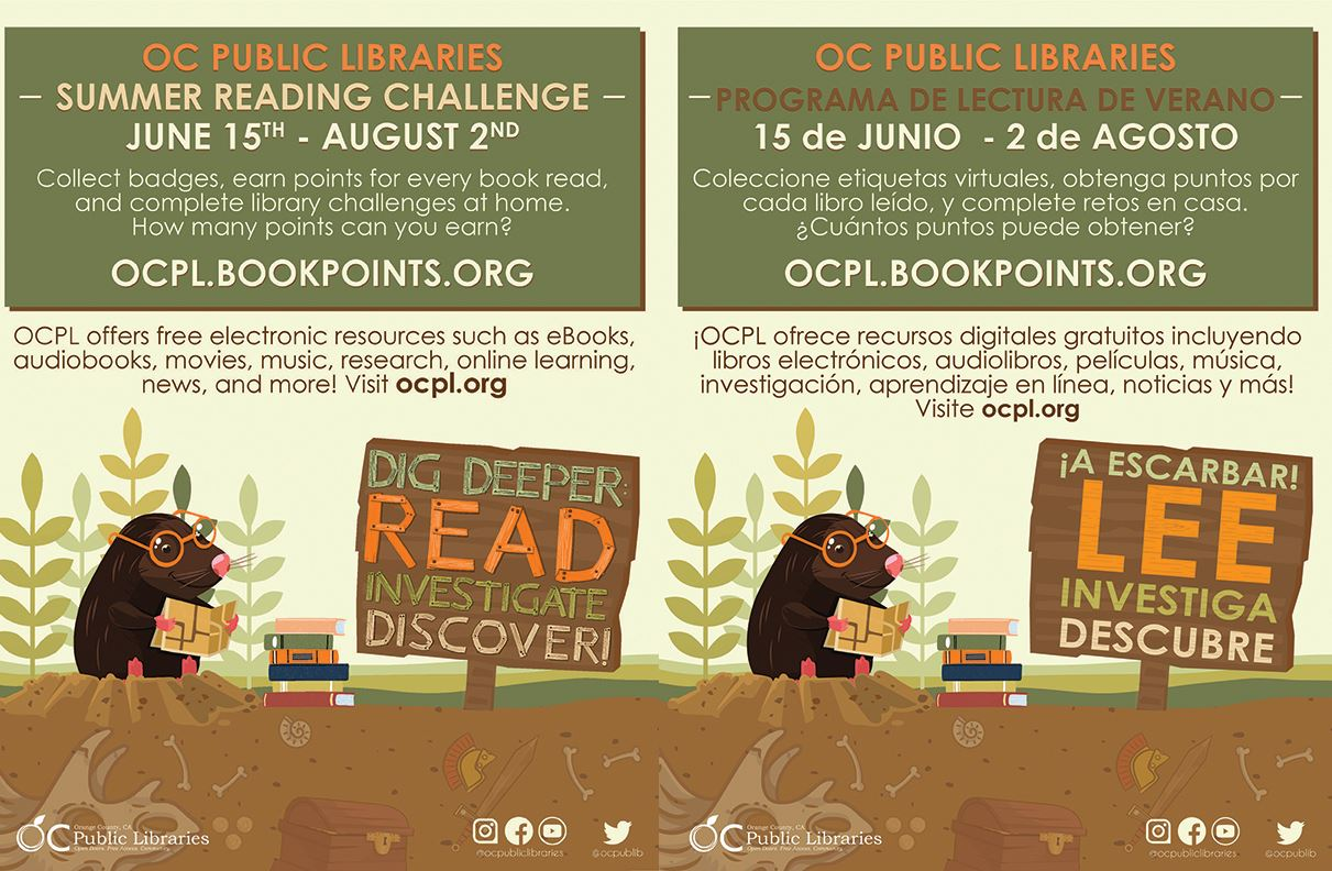 Orange County summer reading program flyers english & spanish